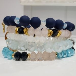 New Erimish Pale Pink Blue Set 5 Beaded Bracelets